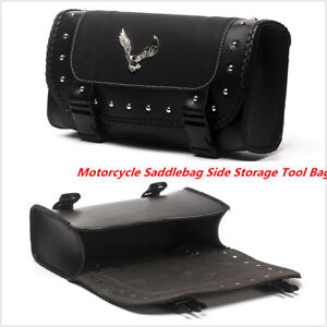 Universal PU Leather Saddle Bags Motorcycle Saddlebag Side Storage Tool Bag