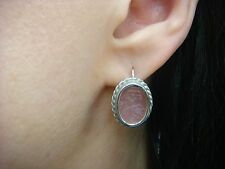 14K WHITE GOLD PINK VENETIAN CLASS CAMEO EARRINGS, MADE IN ITALY, 5.8 GRAMS