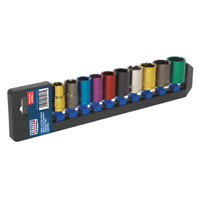 """Sealey Multi-Coloured Socket Set 10pc 1/2""""Sq Drive 6pt WallDrive Metric - AK288"""