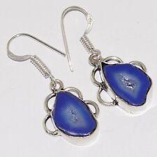 "Silver Plated Earrings 1.4"" Va-1500 Agate Geode Slice 925"