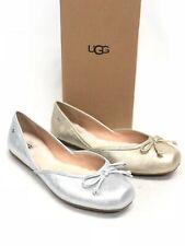 UGG Australia Women's Lena Flat Slip On Shoes Gold Silver 1095090 Leather Bow