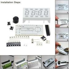 New Electronic Clock DIY Kit 4-digit LED Display Desktop Mini-Clock White Case