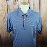 Travis Mathew Men's XL Golf Polo Shirt Blue Striped Pima Cotton Performance S/S