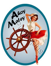 Sexy Pinup Girl Nautical Waterslide Decal Sticker Sailor For Guitars & more S651