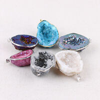 Natural Crystal Agate Geode Stone Pendant Charm DIY Making Necklace Jewelry Gift