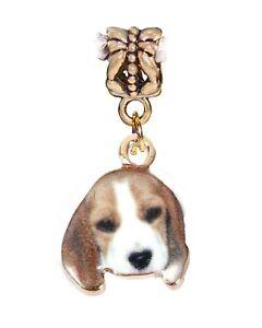 Beagle Puppy Dog Basset Hound Pet Animal Charm for Gold European Slide Bracelets