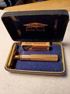 Vintage 1940s Era Gillette GOLD TECH Safety Razor W/ Original Case & Blades