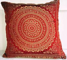"Indian Mandala Ethnic Banarasi Cushion Cover Covers 16x16"" Faux Silk Burgundy UK"