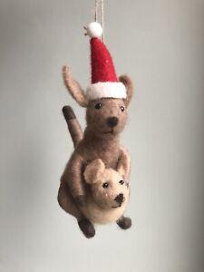 Felt Santa Kangaroo Parent And Baby Joey Christmas Tree Decoration