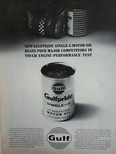 Vintage Gulfpride Motor Oil Can Engine Performance Original Ad