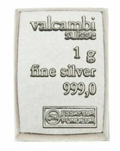 ~/> 999 SILVER 1 GRAM VALCAMBI SIUSSE BULLION BARS 10 TEN *** 10 BARS