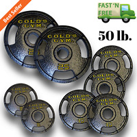50 lb. Olympic Grip Plate Set Home Gym Fitness Exercise Cast Iron Weight Plates