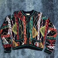 Coogi Australia Multicolor Sweater Mens Sz Medium Vintage Biggie Cosby Colorful