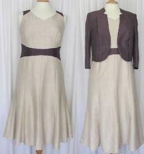 Jacques Vert Sable Dress & Bolero Jacket  ~ Matching Set ~ Wedding ~ Size 12  R1