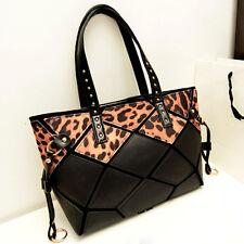 New Womens Leopard Printed Faux Leather Tote Handbag Shoulder Bag Shopper Purse