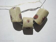 Antique Venetian White w Chevron Millefiori Trade Beads - 14-15x13-20mm - 3