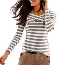 Carmen Shirt Pullover Wickeloptik Gr.44/46 weiß/naturstein gestreift 944623 NEU