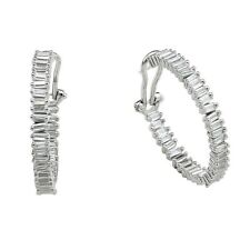 ZirconZ-Baguette Signity CZ Sterling Silver InSide OutSide Omega Hoop Earrings
