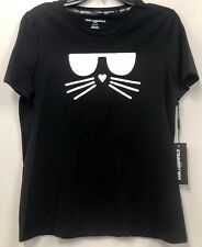 Karl Lagerfeld Cat Face Black White T Shirt Womens Size Small Brand New