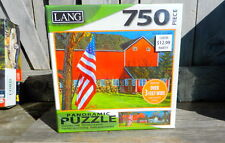 """LANG PANORAMIC PUZZLE 750 PIECE """"AMERICAN FARM"""" 38.25"""" X 11.25"""" OVER 3 FEET WIDE"""