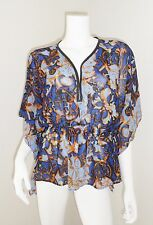 Alberto Makali Blue Gold Chiffon Faux Leather Kimono Top Tunic Blouse 8 M MD