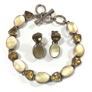 Acleoni Sterling Silver Citrine & Saffron Shell Bracelet & Earrings Set