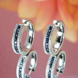 2.50 Ct Round Blue Sapphire and Diamond Huggie Hoop Earrings 14K White Gold Over
