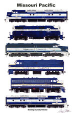 "Missouri Pacific Classic Diesel Locomotives 11""x17"" Poster Andy Fletcher signed"