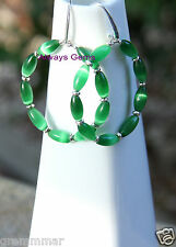 Large Beautiful Green Cat Eye glass rounded Hoop Earrings silver plated hooks