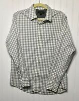 BANANA REPUBLIC Men's Size M Soft Wash Slim Fit Gray White Check/Plaid Shirt