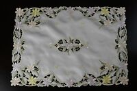 Embroidered Daisy Placemat Runner Fabric Coffee Side End Table Night Stand Cover