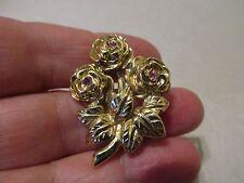Brooch Pin Pretty Gift Idea Fast Uk Antique Vintage Gold Ptd Pink Crystal Flower
