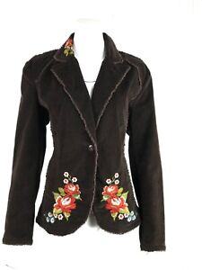 KIKIT JEANS -Womens L Brown Corduroy Floral Embroidered Raw Edges Western Jacket