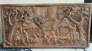 "Agricultural Life Art 3D Wood Carving Baso Relief Wall Panal Large (40""x19.5"")"