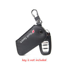 For Audi Sport  Key FOB Case Keychain Fit AUDI A7 Carbon Fiber Leather Key Cover