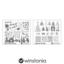 Winstonia 2pc Christmas Nail Art Image Plates Stamping Winter Festival Mani Kit