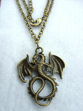 "A Retro Bronze Gothic Dragon Charm ( 30mm x 22 mm ) Pendant ,20"" Chain Necklace"