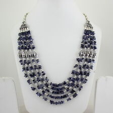 NATURAL CHIPS IOLITE BEADED GEMSTONE FINE NECKLACE 79 GRAMS