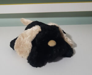 PLUSH TOY SOFT TOY TEDDY AND FRIENDS BLACK DOG GOLD EARS AND NOSE! 24CM LONG!