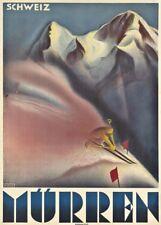 Vintage Ski Posters MURREN, Switzerland, 1931, Art Deco Travel Print