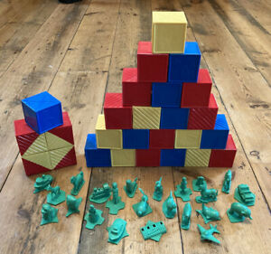 Vintage Tupperware Alphabet Building Blocks Letter Bricks Figures Busy Blocks