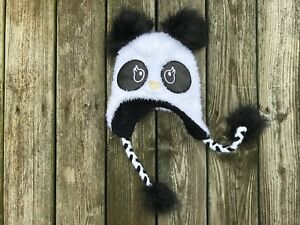 Justice Panda Earflap Beanie Hat w/ Pompoms BNWOT (Discontinued by Manufacturer)