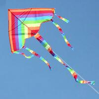 Colorful Rainbow Triangle Kite+50M line Outdoor Fun Sports Beach Kids Children