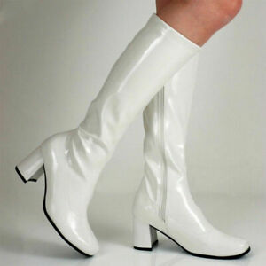 New White 1960s Go Go GoGo Ladies Retro Boots Womens Knee High Boots 60s 70s UK