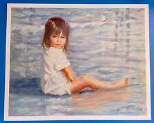 *Vintage* LITTLE GIRL Ocean Beach Surf IVAN ANDERSON Large 16 x 20 1980's Print