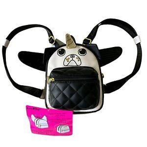 Luv Betsey Johnson UniPug Mini Handbag Backpack in Black & White
