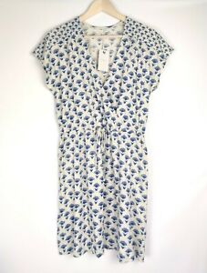 Lucky Brand NWT Women's Wrap Dress Casual Navy Blue Ivory Floral Print Size L