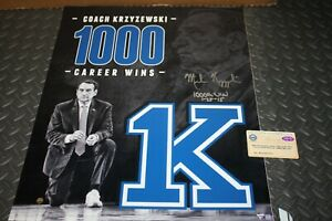 DUKE BLUE DEVILS MIKE KRZYZEWSKI Coach K 1000TH WIN SIGNED 16X20 PHOTO STEINER
