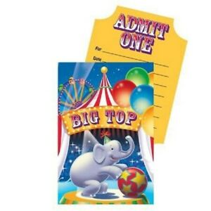 """Circus Big Top Party Invitations Pack of 8 """"Pop Up"""" - Circus Party Supplies"""