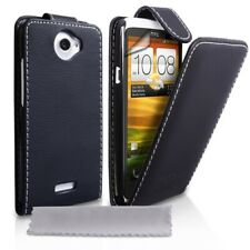 Real Genuine Leather Case For HTC ONE X Wallet Flip W/ Free Screen Protect BLACK